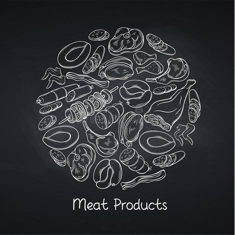 Free Meat Products On Chalkboard Royalty Free Stock Photography - 128723947