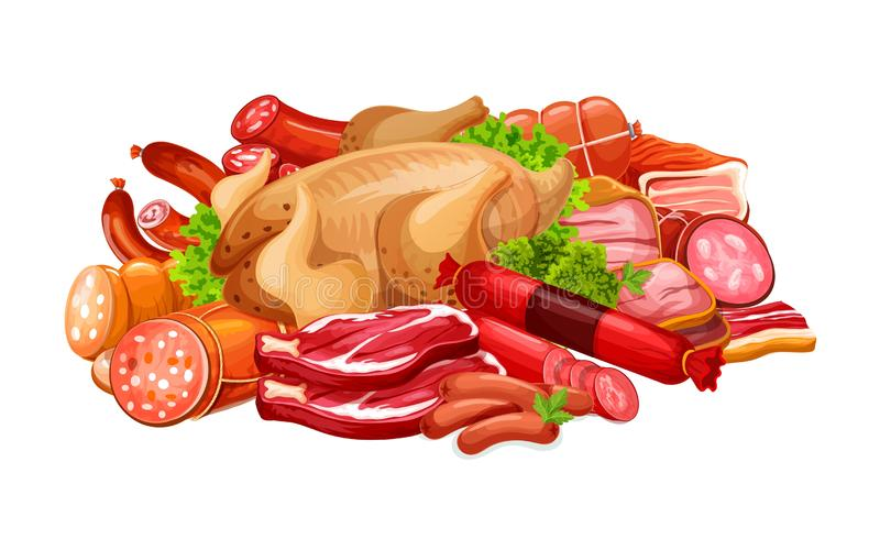 Sausages with meat products and poultry in heap. Meat products and sausages for butcher shop. Vector delicatessen of bacon, ham or pork brisket and salami with royalty free illustration