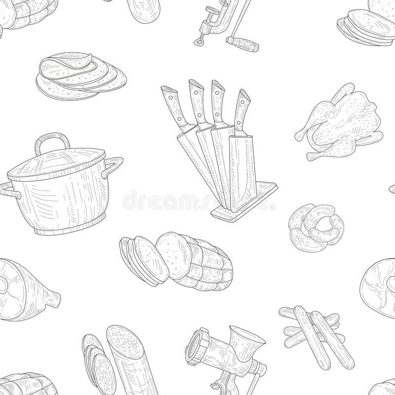 Meat Products Seamless Pattern, Hand Drawn Design Element Can Be Used for Wallpaper, Packaging, Background Vector. Meat Products Seamless Pattern, Hand Drawn royalty free illustration