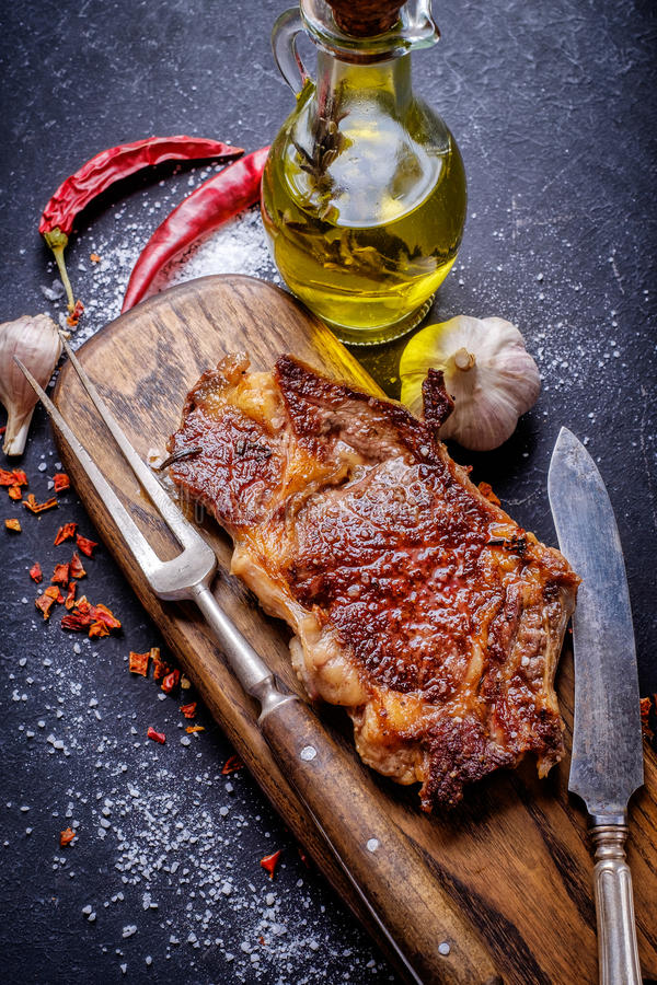 Meat Ribeye steak entrecote close up royalty free stock photos
