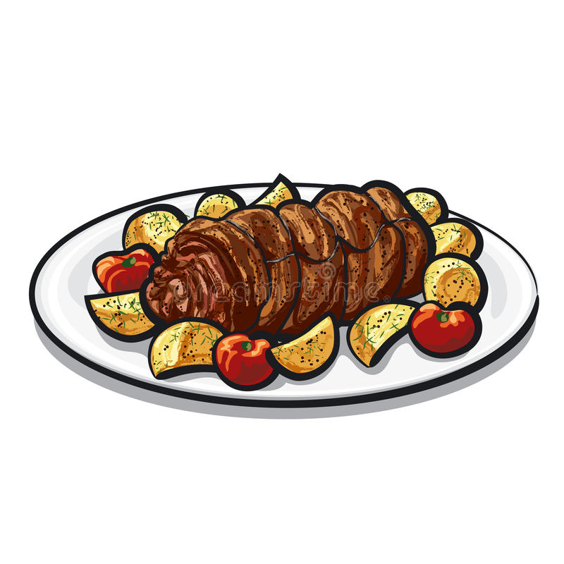 Meat roulade. Art illustration of the meat roulade vector illustration
