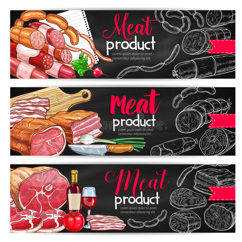Meat Sausage Chalk Sketch Banner For Bbq Design Stock Vector ...