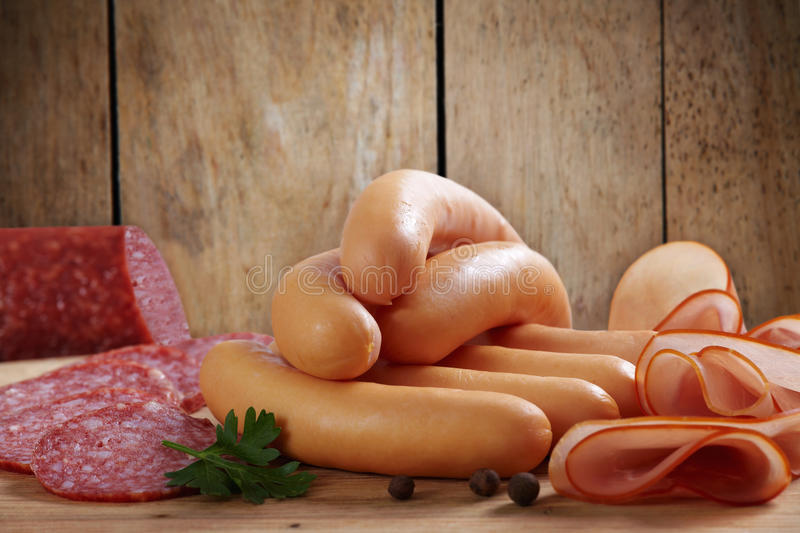 Meat and sausages royalty free stock images