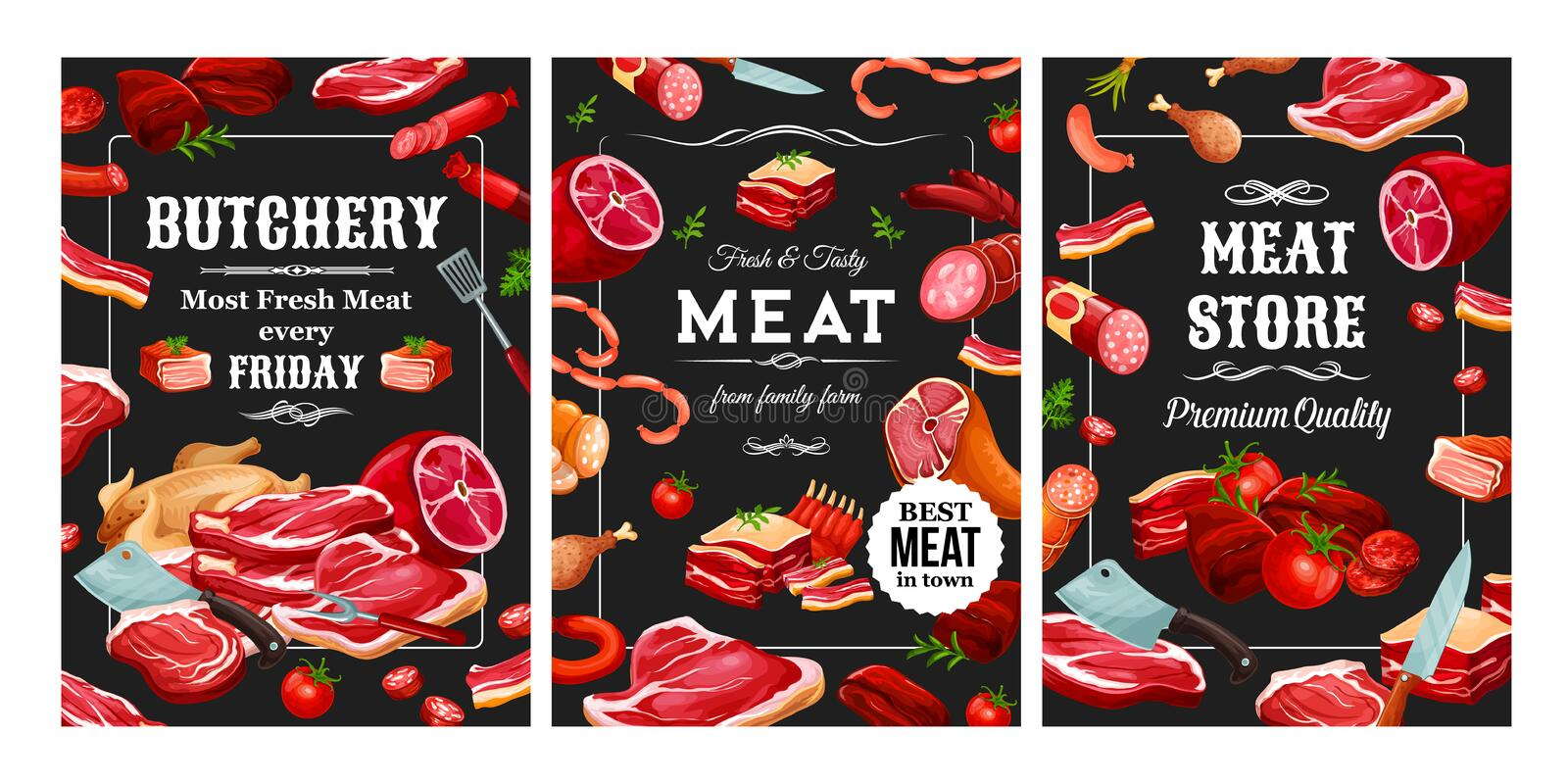 Butchery food, sausages and meat frame. Meat and sausages, butchery food and cutlery. Vector pork and beef, lamb and veal, poultry and seasonings. Bacon and royalty free illustration
