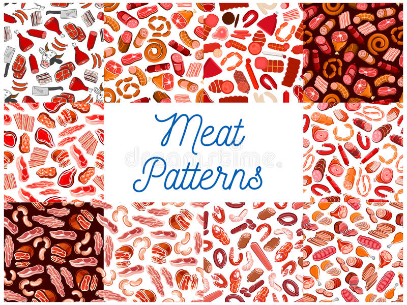 Meat and sausages seamless patterns. Vector pattern of butcher shop products and delicatessen ham, bacon, beefsteak, schnitzel, salami, pepperoni, wurst stock illustration