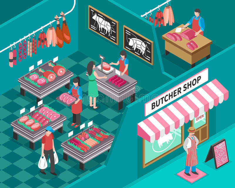 Meat Shop Isometric Illustration royalty free illustration