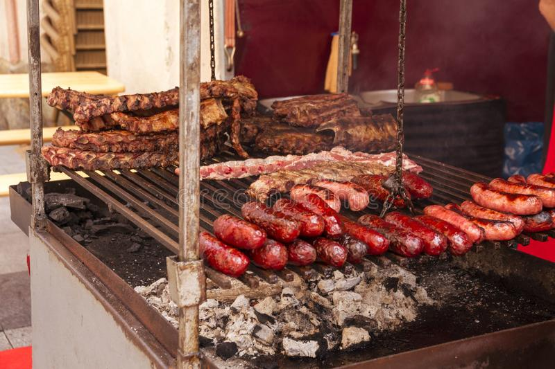 Meat shop at the market sell varied kinds of beef, pork, deer, goat and bull grilled meat in Huesca. Aragon, spain royalty free stock photos