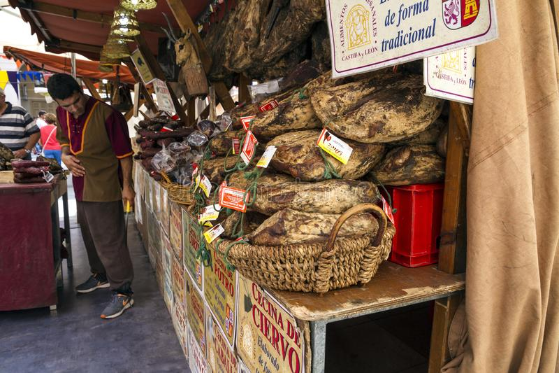 Meat shop sell beef, pork, deer, goat, bull in Huesca, Aragon, spain. HUESCA, SPAIN - SEPTEMBER 26, 2015 : Meat shop sell beef and pork, deer and goat and bull royalty free stock photos