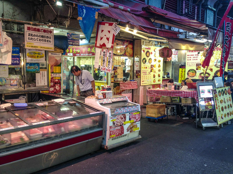 Meat shop and street food in Tokyo stock photos
