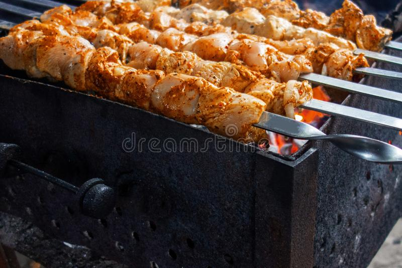 Meat skewers grill. Pork or beef are fried on open fire. Barbecue kitchen party close up image. Kebab or shashlik cooking on spits stock photo
