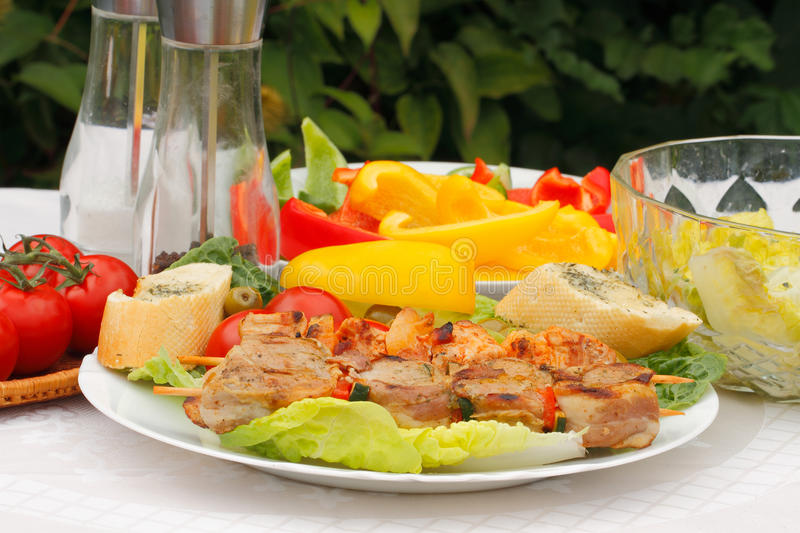 Meat skewers stock photography