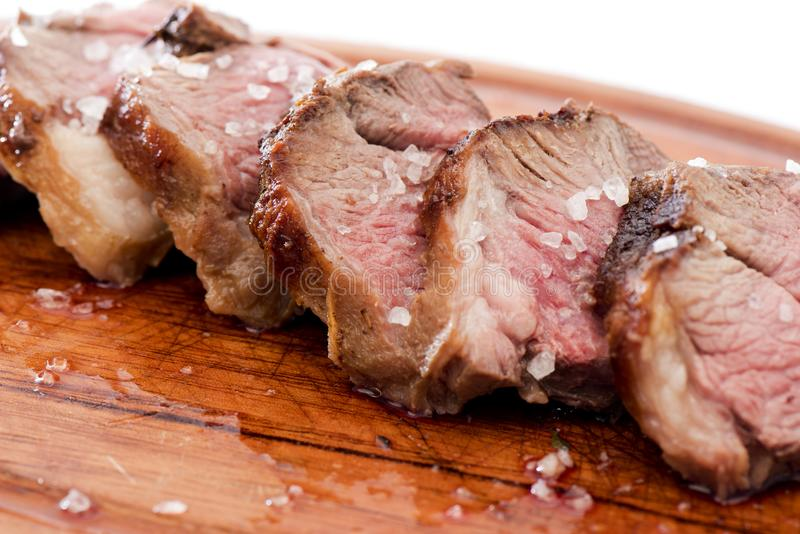 Meat. Slices of delicious lamb meat royalty free stock photo