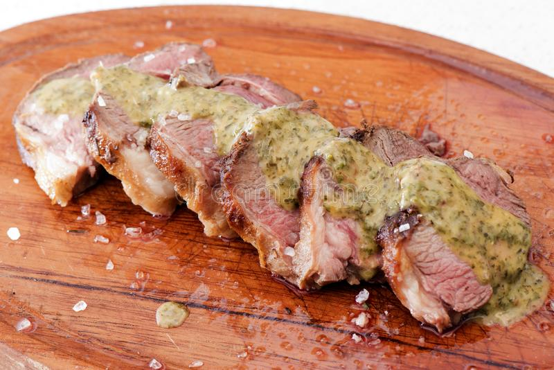 Meat. Slices of delicious lamb meat stock images