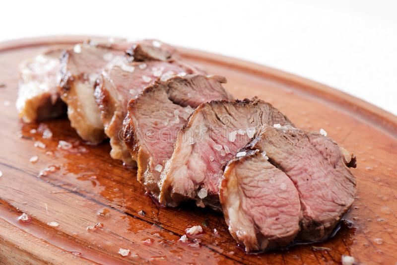 Meat. Slices of delicious lamb meat stock photo