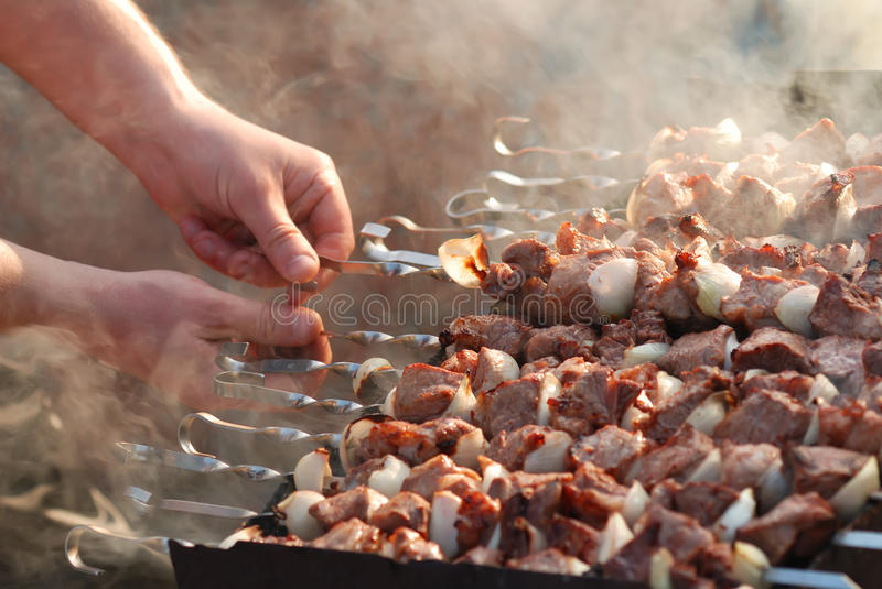 Download Meat Slices Prepare On Fire Stock Image - Image of shashlik, preparation: 14118317