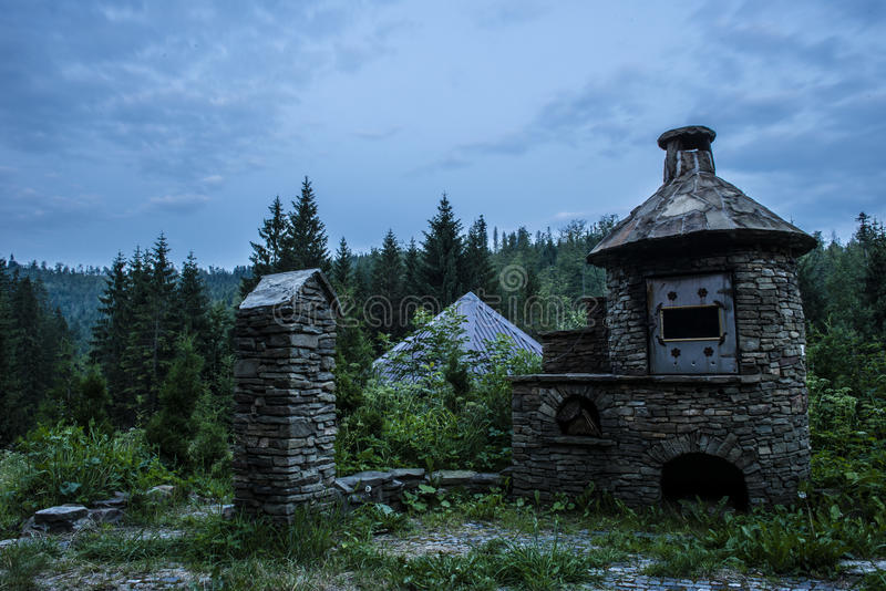 Meat smoker. In the mountains at night stock photos