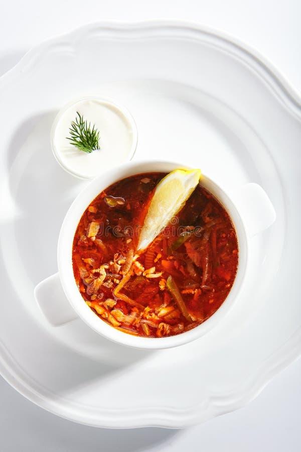Meat Solyanka, Soljanka or Saltwort Soup Isolated stock photography