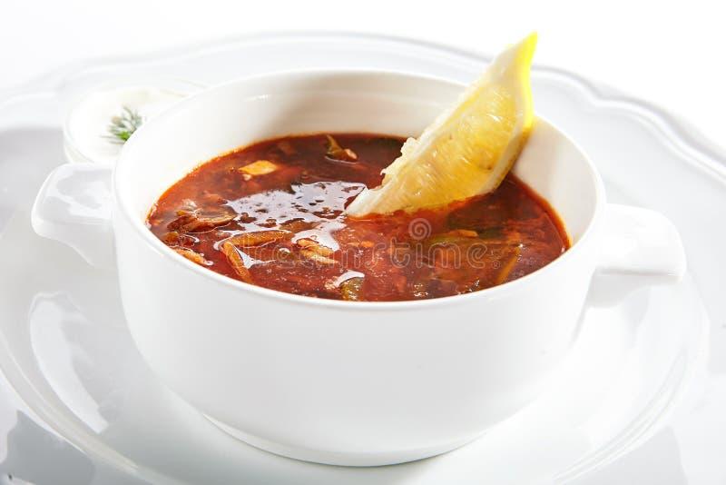 Meat Solyanka, Soljanka or Saltwort Soup  stock images