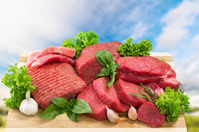 Meat. Steak beef fresh onion red cooking stock image