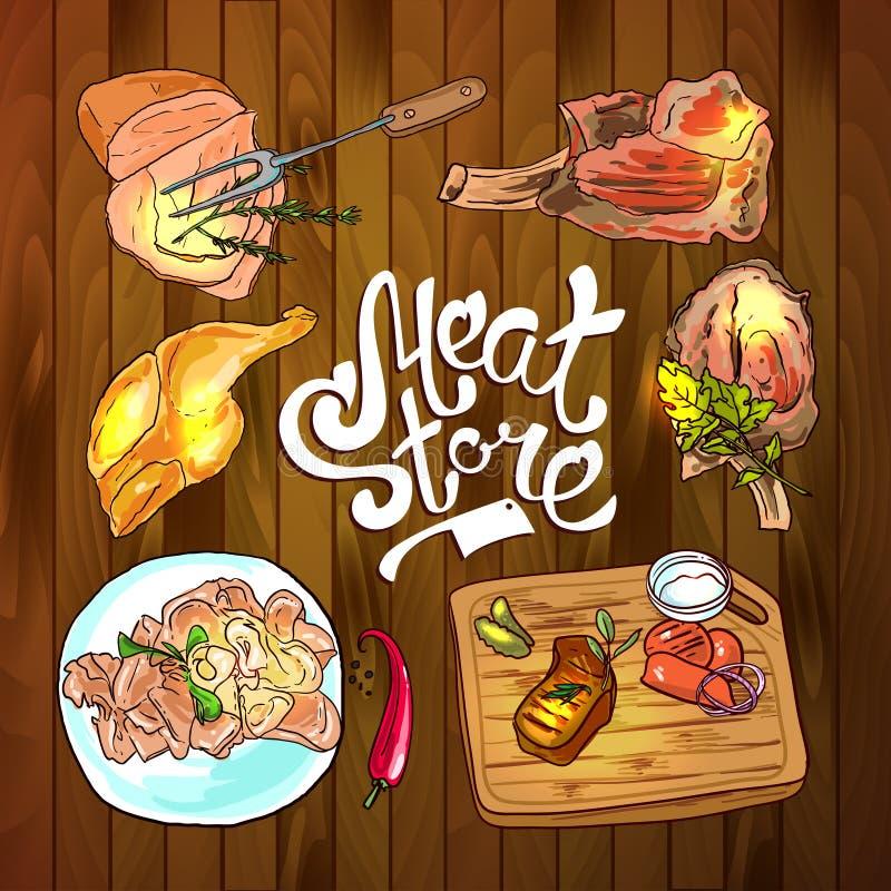 Meat store illustration royalty free illustration