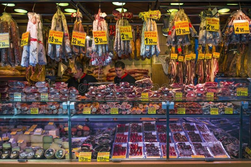 Meat store at La Boqueria Market in Barcelona stock photo