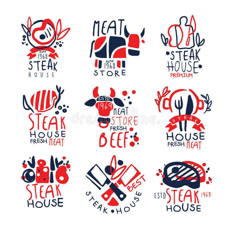 Meat store, steak house logo template set, colorful hand drawn vector Illustrations royalty free illustration