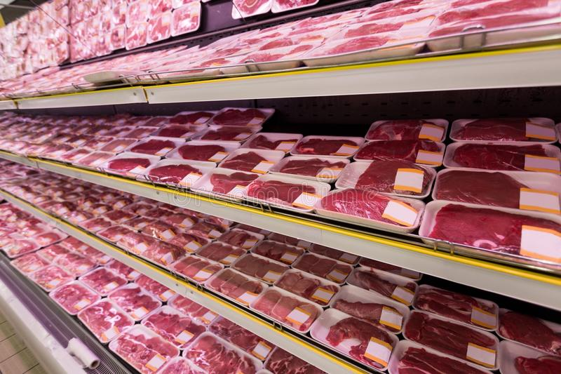 Meat. Supermarket Butcher Packaging Market Store Groceries stock photography