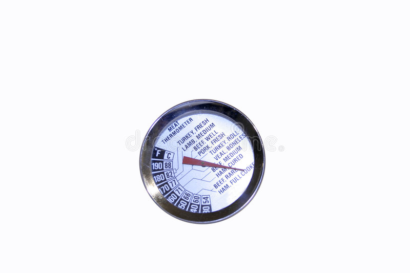 Meat Thermometer - Isolated. Oven meat cooking thermometer used to ensure safe cooked meat temperatures - shows both celcius and fahrenheit - isolated on white royalty free stock image