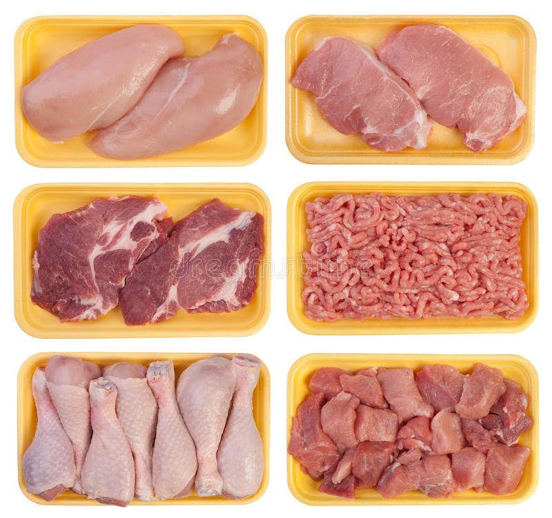 Meat On Trays Stock Photos