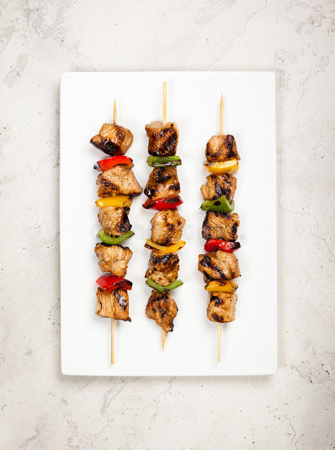 Meat and vegetable kebabs royalty free stock photo