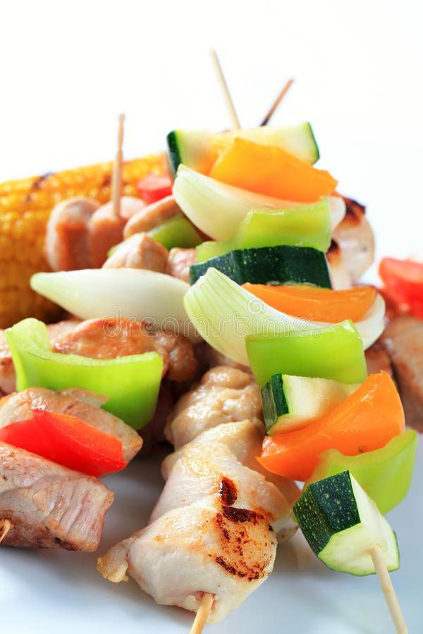 Meat and vegetable skewers royalty free stock image