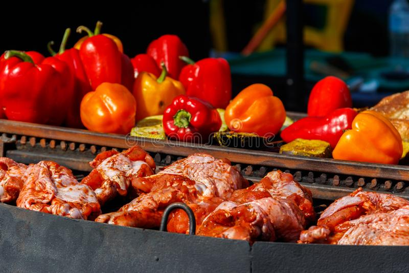 Meat and vegetables cooking on grill stock image