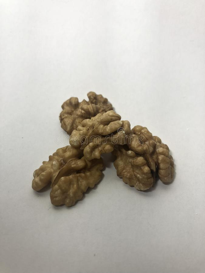 Meat of walnut without walnut shell royalty free stock photos