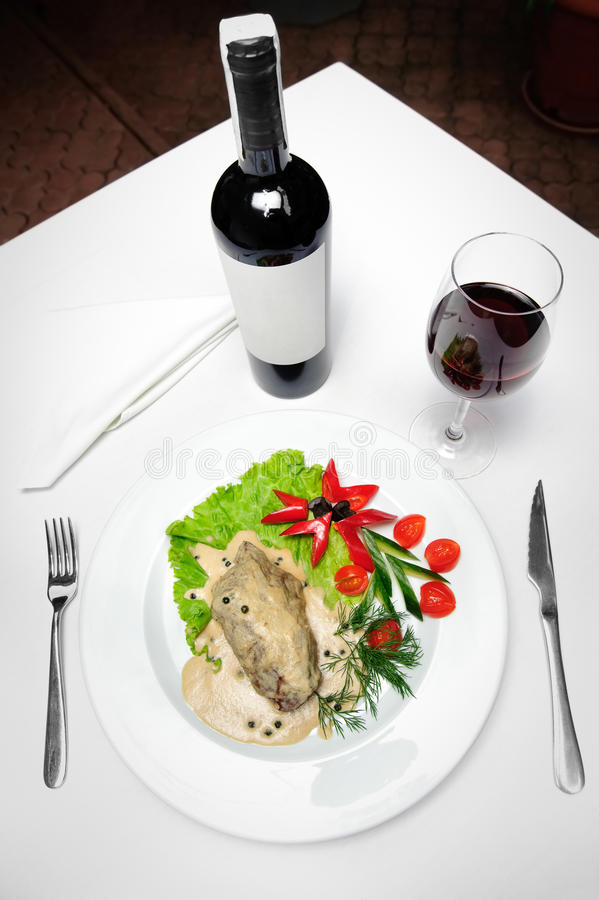 Meat and wine stock photo