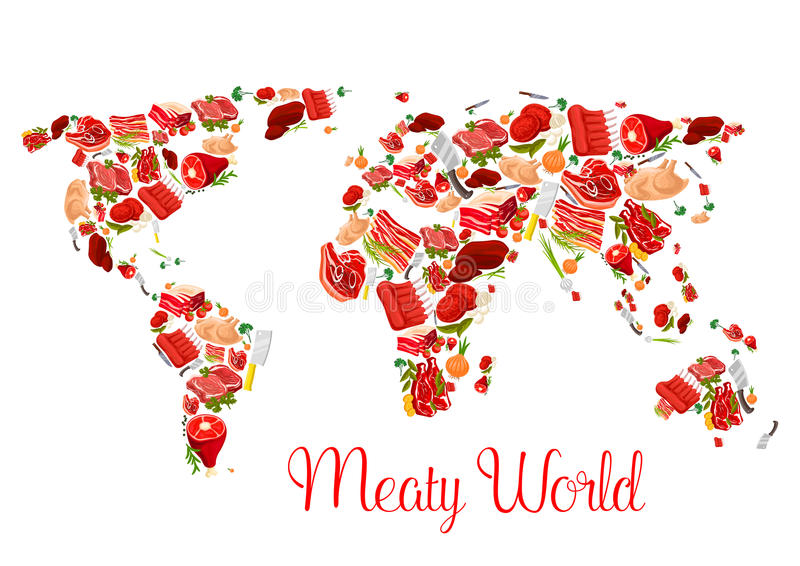 Meat world map poster with beef pork ham bacon stock vector download meat world map poster with beef pork ham bacon stock vector gumiabroncs Images
