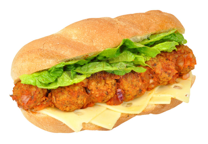 Meatball And Cheese Sandwich. Sub roll isolated on a white background royalty free stock photo