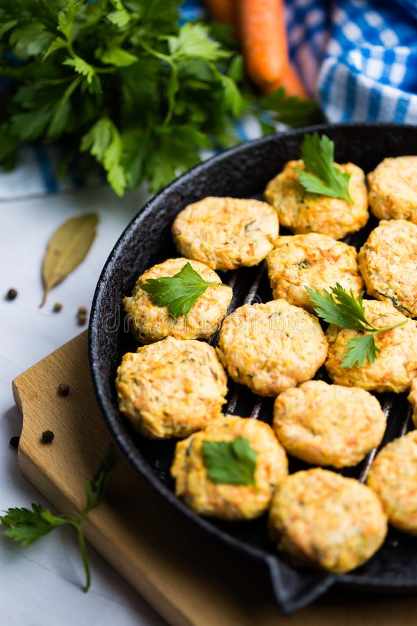 Meatball with chicken and carrot, celery stock image