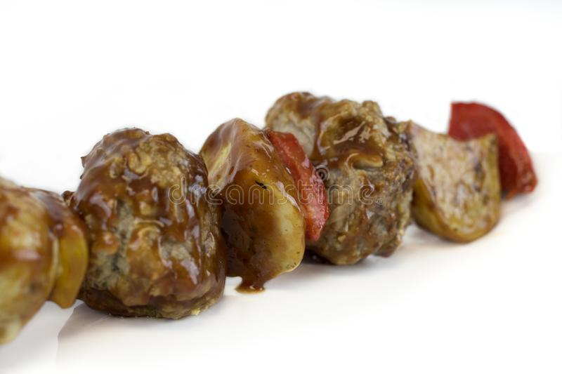 Meatball Kebab with sauce royalty free stock photo