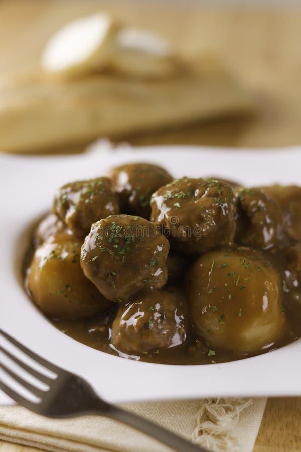 Meatball pork with potato stock image