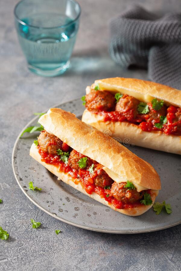 Meatball sub sandwich with cheese and marinara tomato sauce. american italian fast food stock images