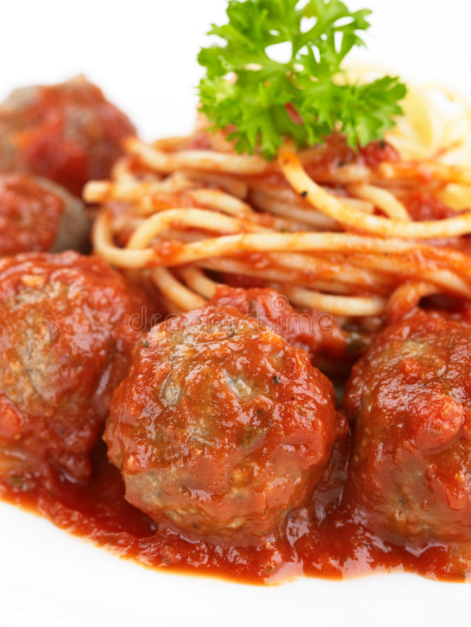 meatballpasta royaltyfria foton