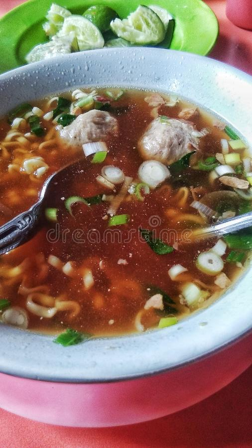 Meatballs. Or Bakso & x28;Asian Food& x29; with lime stock images