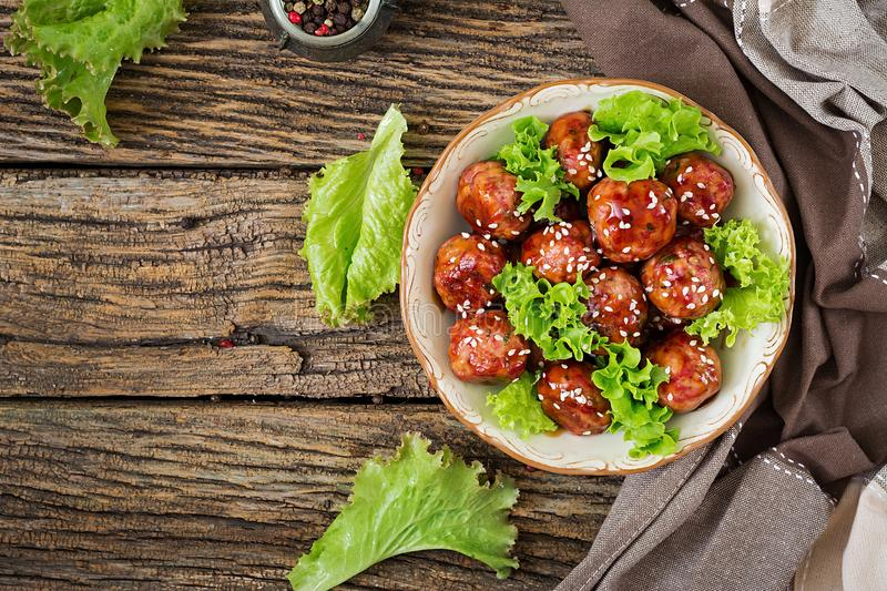 Meatballs with beef in sweet and sour sauce. royalty free stock images