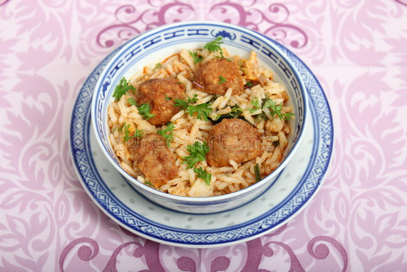 Meatballs com arroz foto de stock