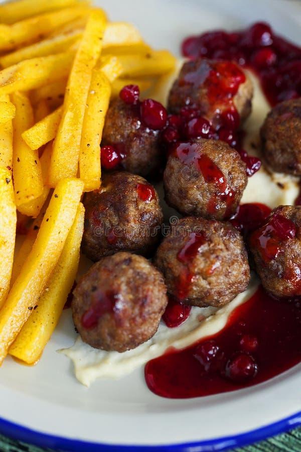 Meatballs de sueco Fim acima Alimento saudável foto de stock
