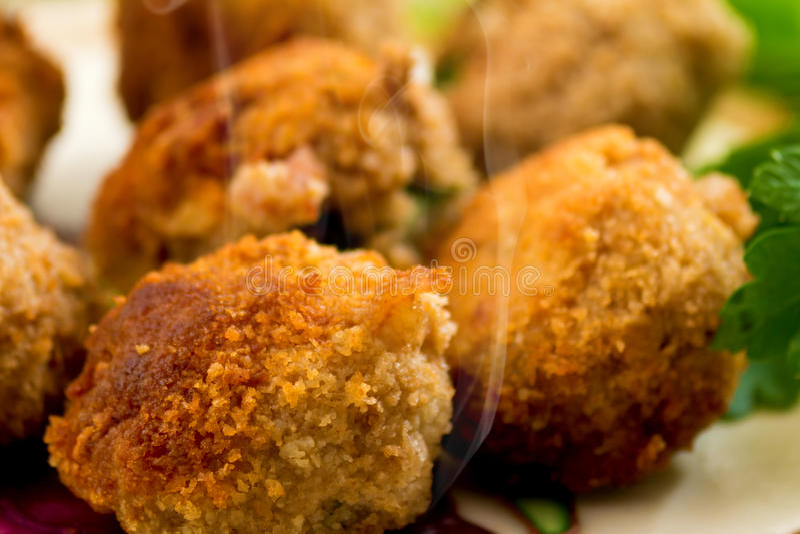 Meatballs e salsa imagem de stock
