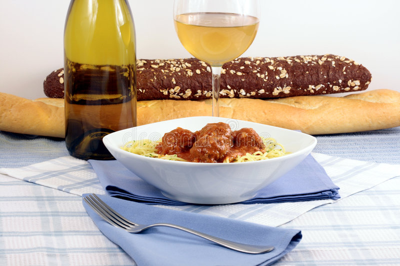 Meatballs fancy pasta style royalty free stock images