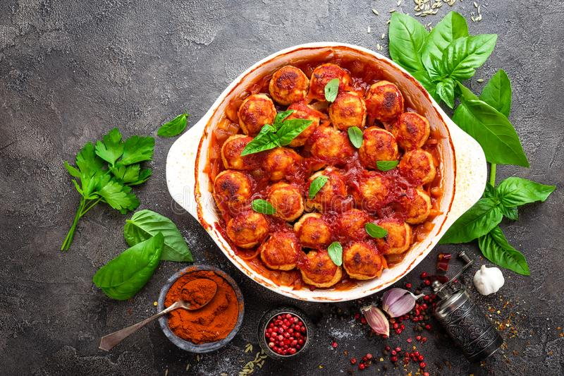 Meatballs. Meatballs in tomato sauce royalty free stock images