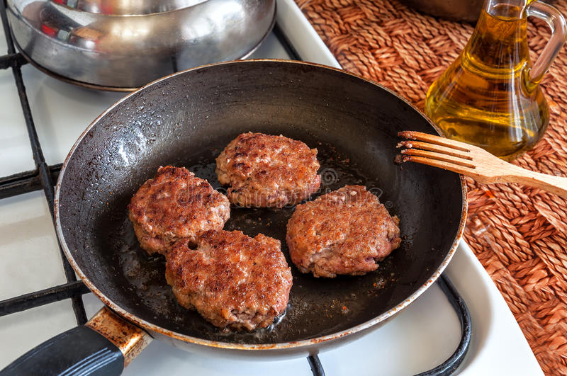 Meatballs in the pan royalty free stock images