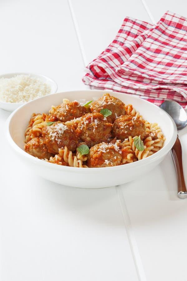 Meatballs with Pasta and Marinara stock image